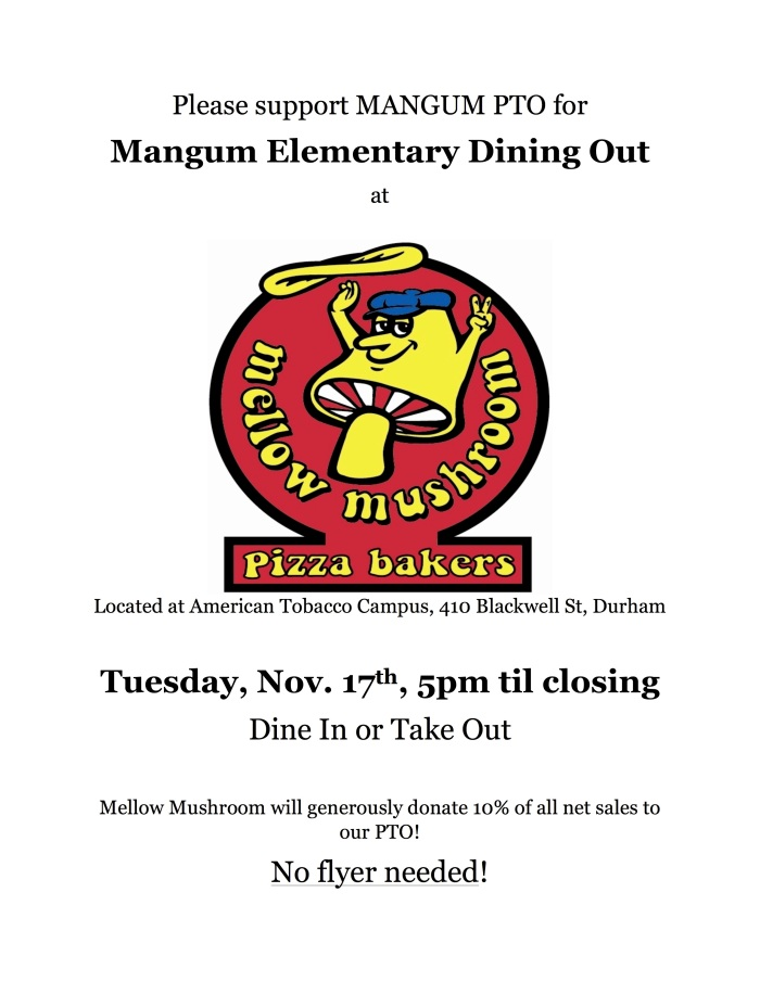 Mellow Mushroom Dining Out Flyer