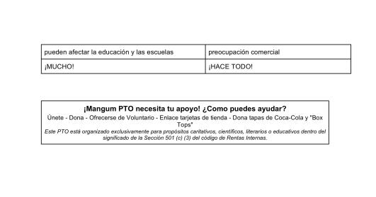 2 El rol de la Organización de Padres y Maestros (PTO) de Mangum Elementary