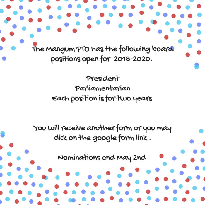The mangum pto has a board position open for the 2017-2018_19 sChool year. If you or someone you know is interested, please email_Mangumpto@gmail.com-4
